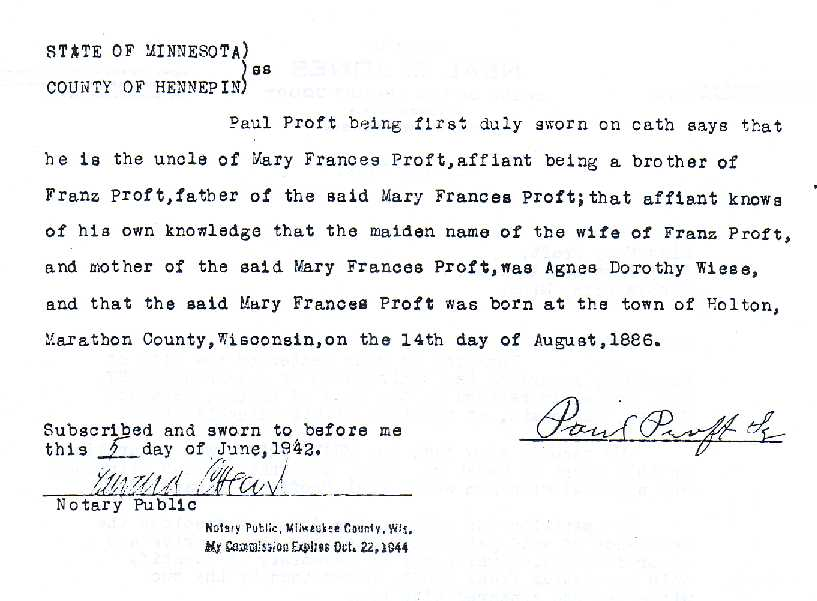 Proft genealogy frank j proft marys affidavit of birth as attested by her uncle paul proft sr yadclub Image collections