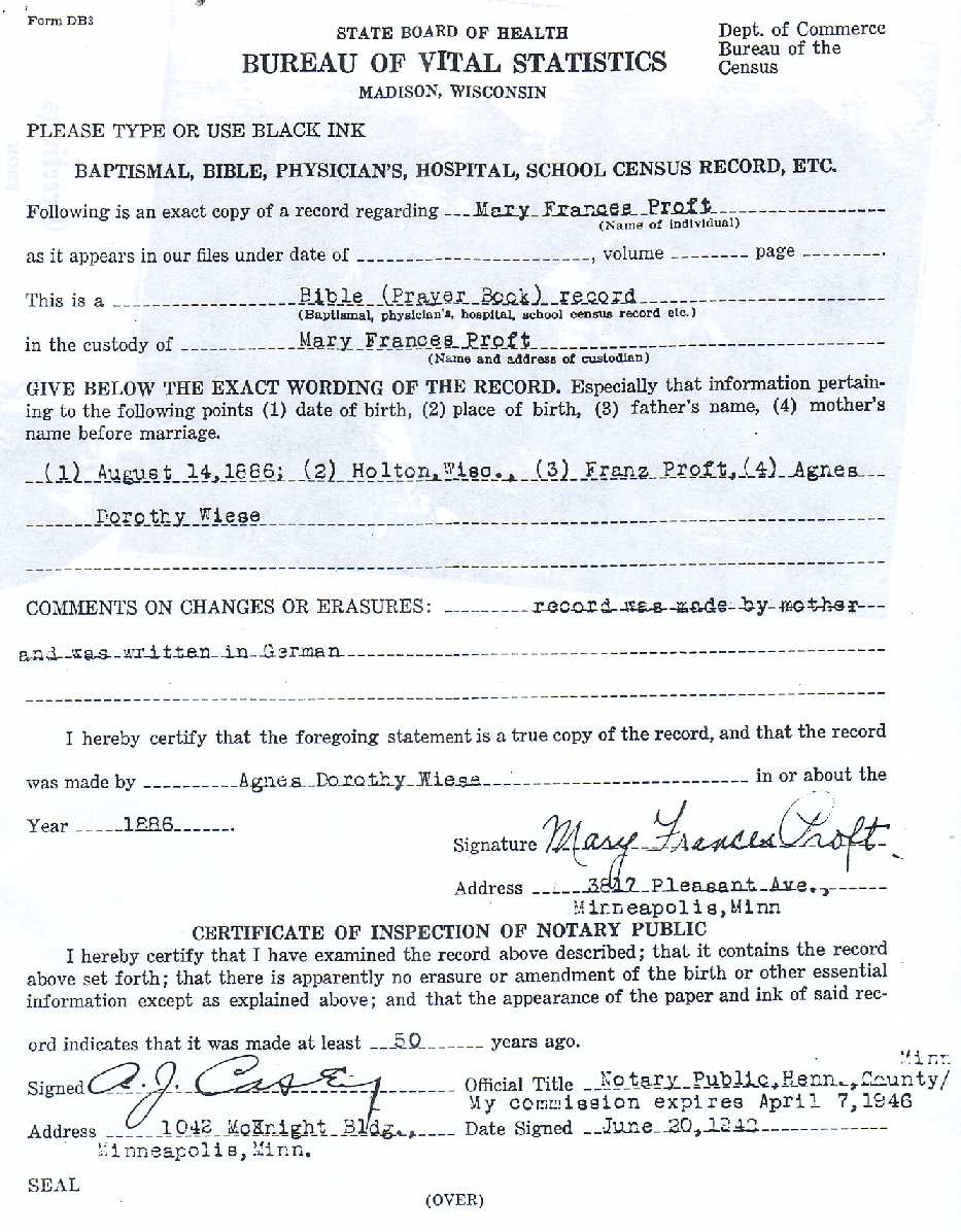 Proft genealogy frank j proft marys affidavit of birth as attested by her uncle paul proft sr yadclub